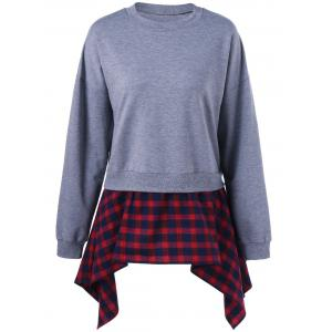 Plaid Insert Asymmetric Sweatshirt