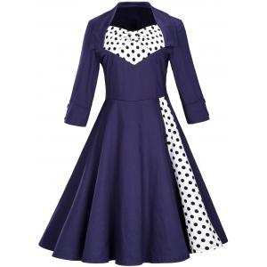 Vintage Polka Dot Bowknot Fit and Flare Dress