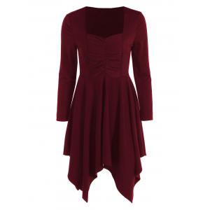 Long Sleeves Ruched Asymmetric Swing Dress - Burgundy - Xl