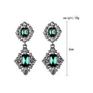 Faux Gems Embellished Drop Earrings - BLACKISH GREEN