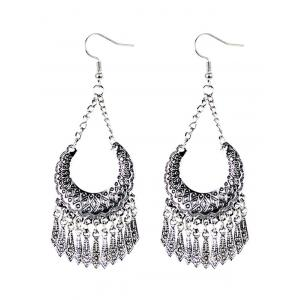 Geometrical Embellished Tassel Drop Earrings - Silver - One Size