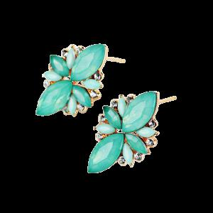 Candy Color Faux Gems Embellished Earrings - Azure