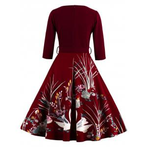Vintage Printed Fit and Flare Waisted Dress - BURGUNDY 4XL
