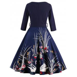 Vintage Printed Fit and Flare Waisted Dress - PURPLISH BLUE S