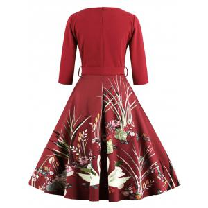 Vintage Print Belted Flare High Waist Dress - RED 4XL