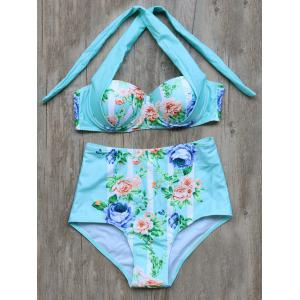 High Waisted Tied Floral Printed Bikini Set