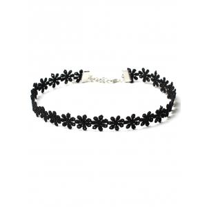 Floral Layered Choker Necklaces Set - BLACK
