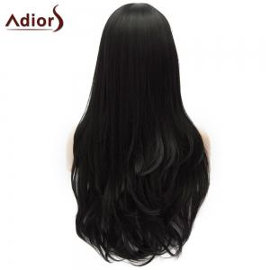 Adiors Long Shaggy Wavy Inclined Bang Party Synthetic Wig - BLACK