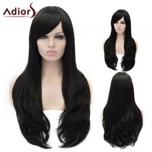 Adiors Long Shaggy Wavy Inclined Bang Party Synthetic Wig