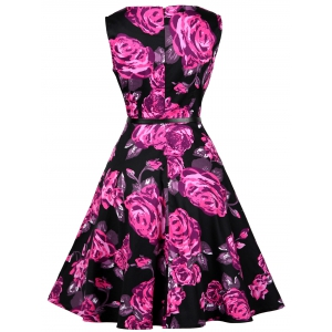 Floral Print Cotton Vintage Formal Tea Dress - FLORAL M