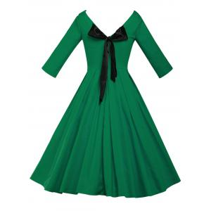 Lace Up Bowknot Vintage Swing Dress - GREEN 3XL