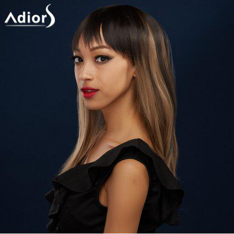 Sale Attractive Full Bang Long Synthetic Silky Straight Black Brown Ombre Adiors Wig For Women