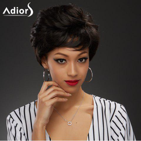 Store Elegant Short Black Brown Capless Fluffy Curly Synthetic Wig For Women BLACK BROWN