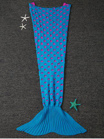 New Home Decor Broken Hole Knitted Mermaid Blanket Throw For Kids - LAKE BLUE  Mobile