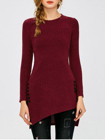 Ribbed Asymmetrical Side Slit Buttoned Knitwear