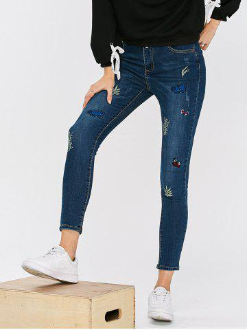 Sale High Waisted Butterfly Embroidered Cropped Skinny Jeans BLUE 32