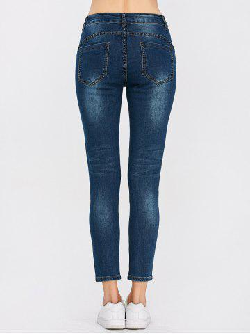 Latest Peacock Embroidered High Waist Jeans - 32 DEEP BLUE Mobile