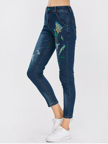 Online Peacock Embroidered High Waist Jeans - 32 DEEP BLUE Mobile
