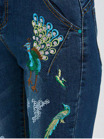 Shop Peacock Embroidered High Waist Jeans - 32 DEEP BLUE Mobile