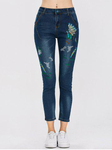 Shop Peacock Embroidered High Waist Jeans DEEP BLUE 28