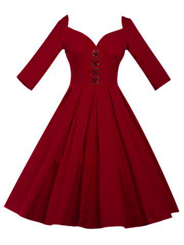 Store Lace Up Bowknot Vintage Swing Dress