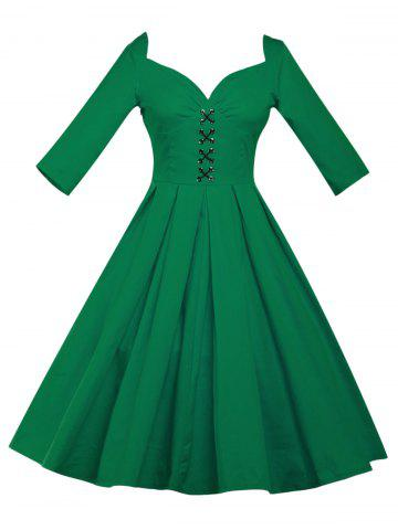 Best Lace Up Bowknot Vintage Swing Dress GREEN 3XL