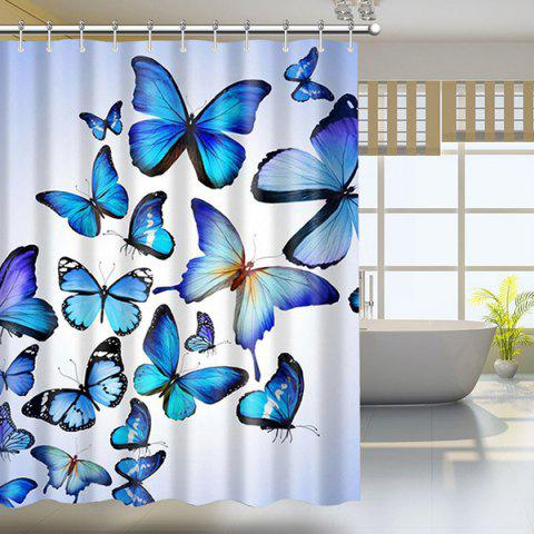 Butterfly Print Waterproof Mildewproof Shower Curtain - Colormix - W71 Inch * L79 Inch