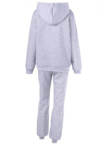 Trendy Hooded Letter Graphic Sweatshirt with Jogger Pants - 2XL LIGHT GRAY Mobile