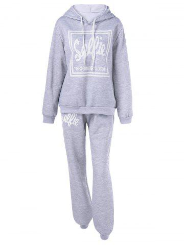 Trendy Hooded Letter Graphic Sweatshirt with Jogger Pants - XL LIGHT GRAY Mobile