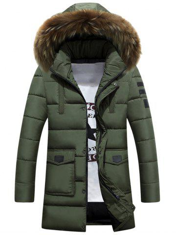 Applique Quilted Coat with Faux Fur Hood
