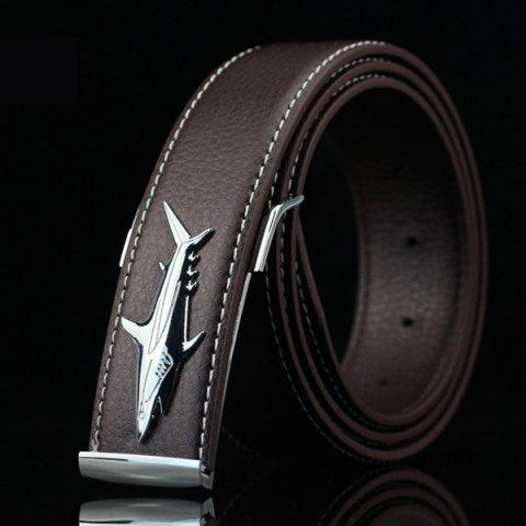 Fancy Alloy Shark Covered Pin Buckle Faux Leather Belt DARK COFFEE