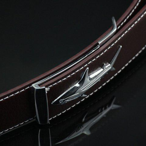Discount Alloy Shark Covered Pin Buckle Faux Leather Belt - DEEP BLUE  Mobile