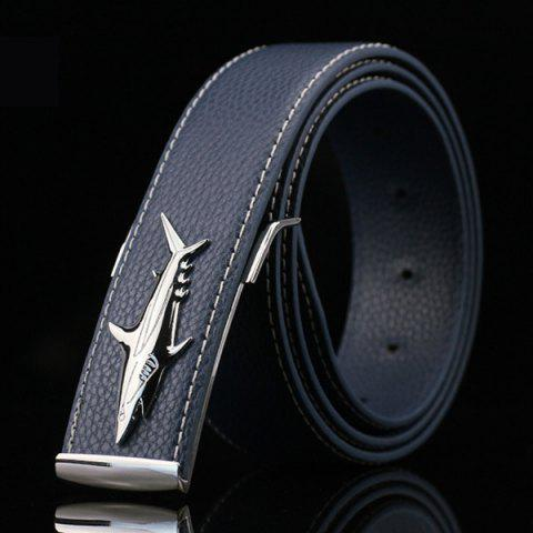 Chic Alloy Shark Covered Pin Buckle Faux Leather Belt - DEEP BLUE  Mobile