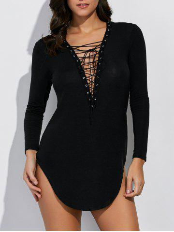 Plunging Neck Long Sleeve Lace Up Dress - Black - S