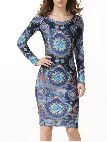 Ethnic Printed Long Sleeve Bodycon Dress - Deep Blue - S