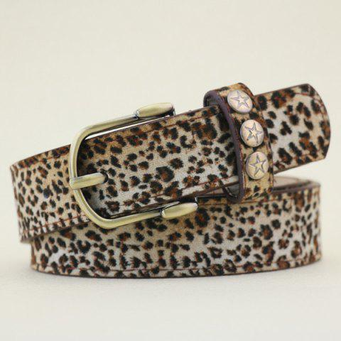 Chic Star Stud Wide Pigskin Waist Belt with Leopard Print - LEOPARD  Mobile
