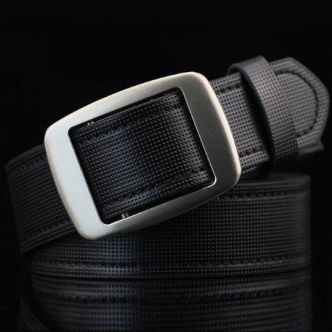 Unique Gingham Embossed Faux Leather Square Buckle Belt - BLACK  Mobile