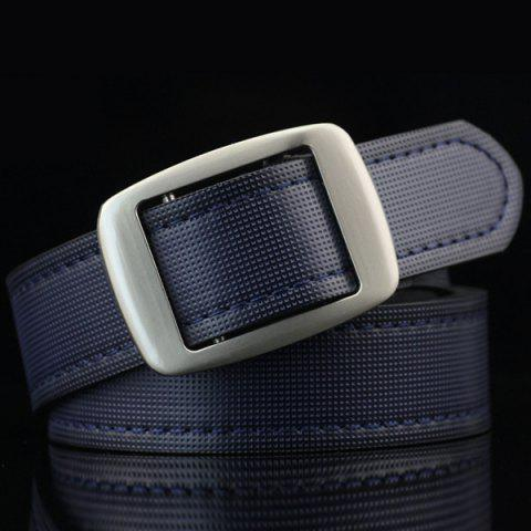 Cheap Gingham Embossed Faux Leather Square Buckle Belt - DEEP BLUE  Mobile