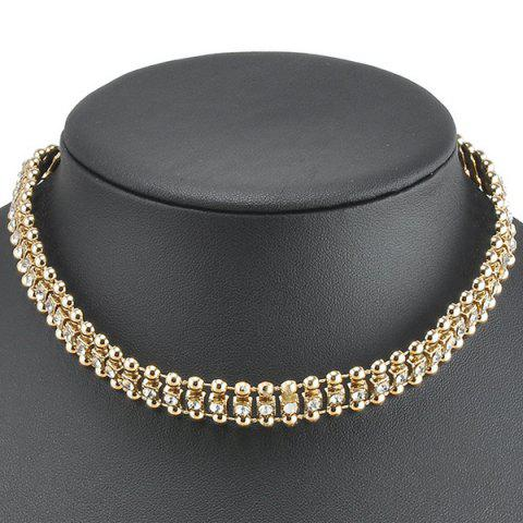 Hollow Out Rhinestone Choker Necklace - Golden