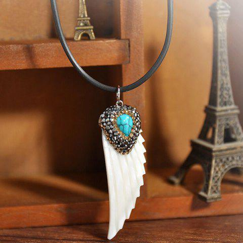 Online Feather Shape Fake Turquoise Sweater Chain - WHITE  Mobile