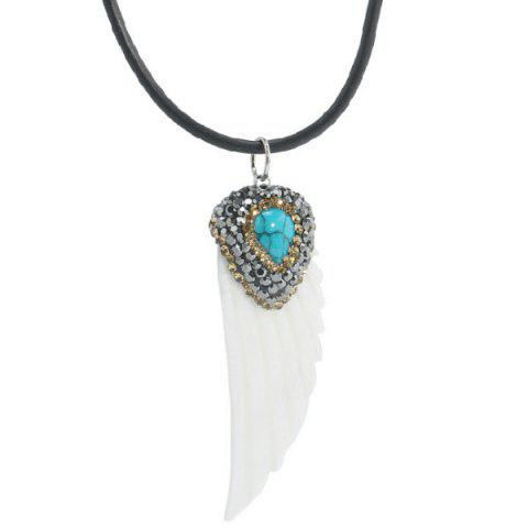 Feather Shape Fake Turquoise Sweater Chain - White