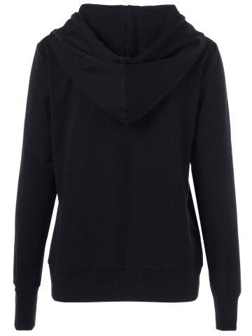 Best Embroidered Drawstring Hoodie - XL BLACK Mobile