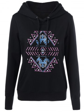 Hot Embroidered Drawstring Hoodie - XL BLACK Mobile