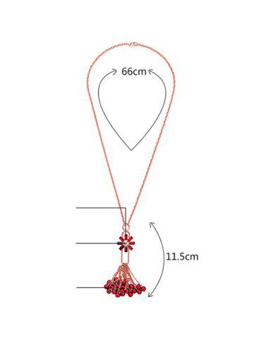 Trendy Rhinestone Flower Fringed Beads Sweater Chain - RED  Mobile