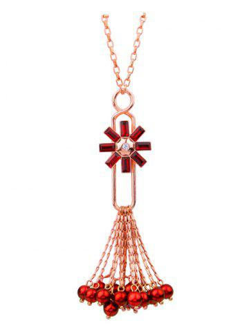 New Rhinestone Flower Fringed Beads Sweater Chain - RED  Mobile