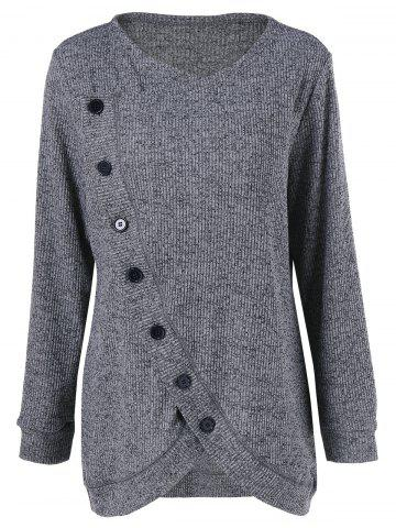 Hot Long Sleeve Plus Size Button Up Overlap Cardigan - XL GRAY Mobile