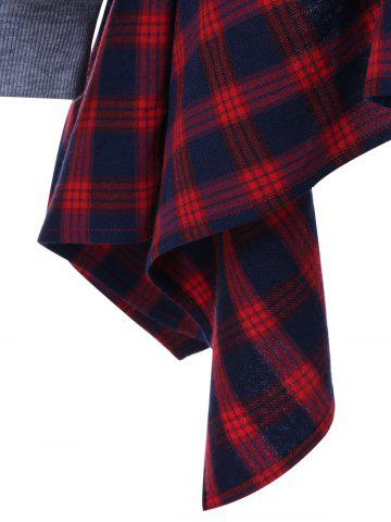 Fashion Plaid Insert Asymmetric Sweatshirt - XL GRAY AND RED Mobile
