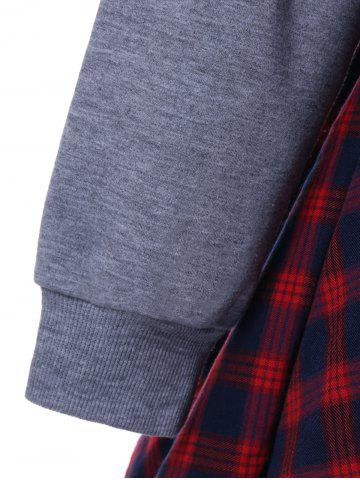 Unique Plaid Insert Asymmetric Sweatshirt - XL GRAY AND RED Mobile