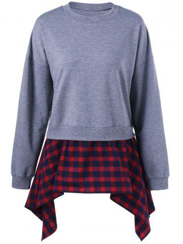 Online Plaid Insert Asymmetric Sweatshirt - XL GRAY AND RED Mobile