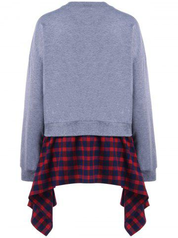Discount Plaid Insert Asymmetric Sweatshirt - XL GRAY AND RED Mobile